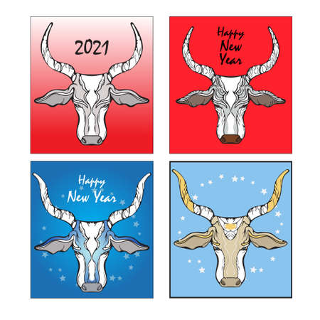 Bull head, four illustrations for the new year, different patterns of cards