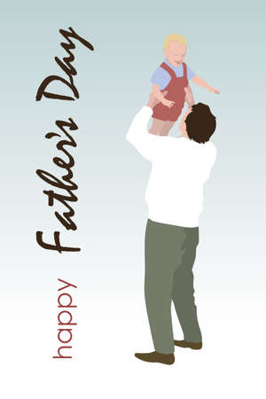 Dad with a child, illustration for a book or postcard, dad raised the child up, both are smiling Çizim