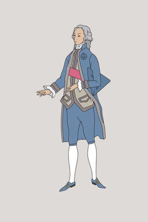 Figure of a man in a retro suit, European courtier costume, 18th century fashion