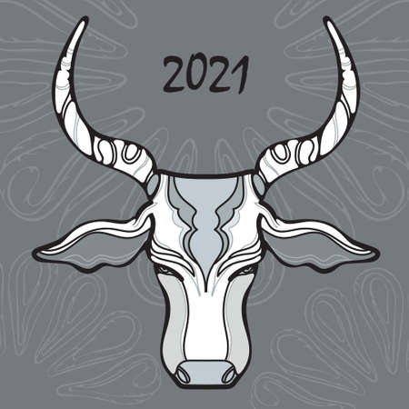 Bull head on a black background, illustration for a postcard for the new year, year of the bull, vector drawing Ilustração
