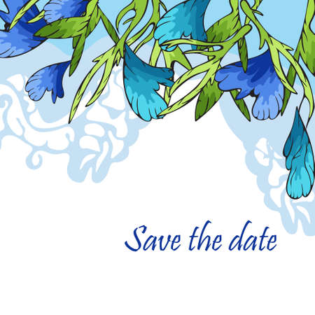 Postcard with stylized blue flowers, invitation, congratulation. Drawing in vector