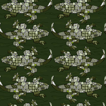 Ornament with abstract crocodiles, seamless pattern for printing on fabric or paper Ilustração