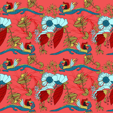 Bright red background and dragons on it, oriental motives for ornament on an endless pattern