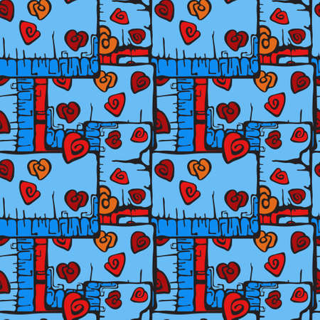 Bright ornament with roses on a blue background, vector drawing, seamless pattern for printing on fabric or paper