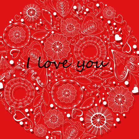 Decorative postcard, openwork ornament on a red background, text, congratulation, invitation Ilustração