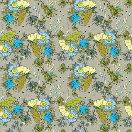 Stylized field flowers, cheerful positive pattern for summer fabrics, yellow and blue colors. For printing on fabric.