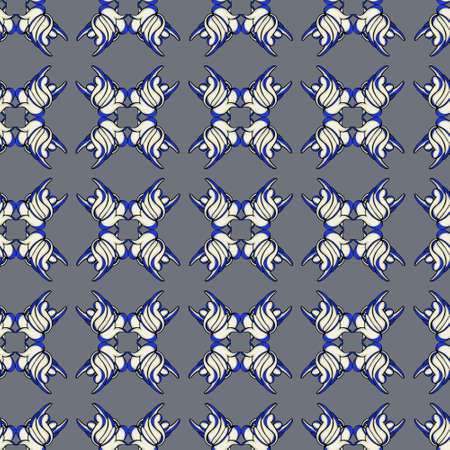 Monochrome pattern with geometric ornament, gray and purple colors. For printing on textiles and paper. Ilustração