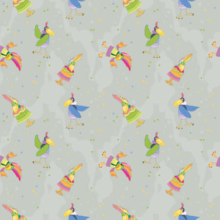 Pattern with parrots for printing on fabrics or paper for children, bright and funny birds Ilustração