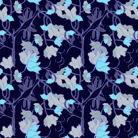 Ornament in bright blue for printing on fabric or paper Ilustração