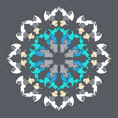 Round ornament in oriental style, vector drawing. Blue, white, gray colors.