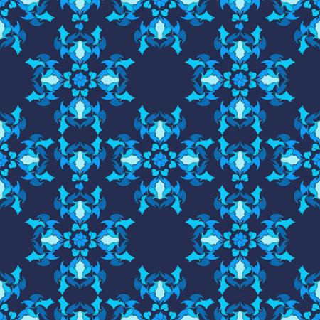Oriental geometric ornament for fabrics or paper, blue and purple color elements Ilustração