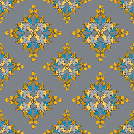Gray, yellow and blue colors on a gray background, a pattern in an oriental style for printing on fabrics Ilustração