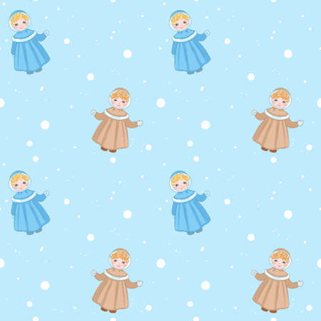 Winter ornament with snow and a little girl, print on fabrics and paper for children, seamless Ilustração