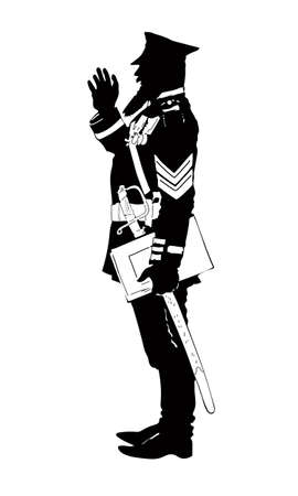A silhouette of an officer in retro uniforms, a beard, a cap and shoulder straps, as well as other insignia. 18th century, Europe, Russian tsarist army, with saber Vecteurs