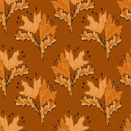 Ornament in folk style, orange stylized plants, bright summer and autumn.