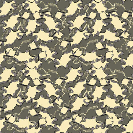 Camouflage ornament, yellow and khaki, pattern for printing on fabrics, seamless pattern.