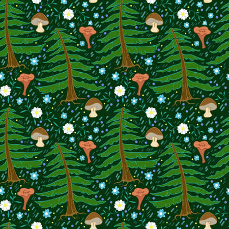 Dense forest on a pattern, spruces and plants, green dark background and bright details