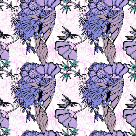Ornament in the boho style, stylized flowers of lilac color on a white background