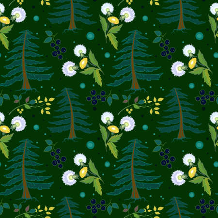 Seamless ornament with forest plants, dandelions and fir trees. Dark green background. Designed for printing on textiles and paper, as well as a background. Ilustração