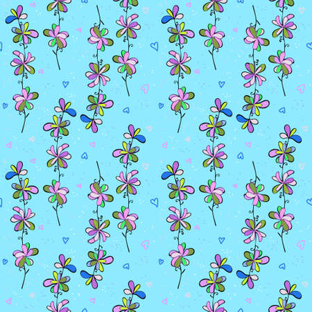 Summer bright ornament with simple floral elements for print on fabric
