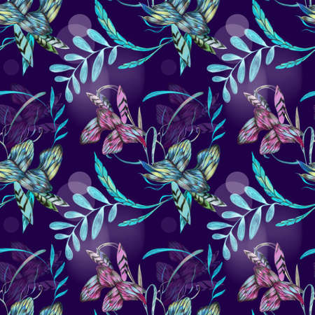 Purple background and stylized flowers on it, the drawing of the pattern is made on a graphic tablet, for printing on fabric