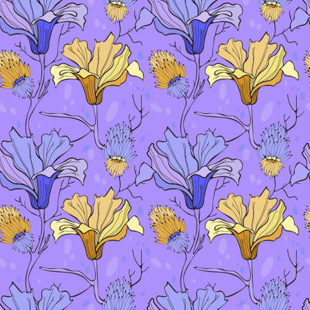 Summer and spring pattern with white and blue magnolias. For printing on fabric and paper. Ilustração