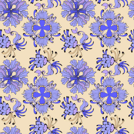 Ornament in oriental style with a pattern of curls and plants. For Arabic and Indian fabrics. For print. Ilustração