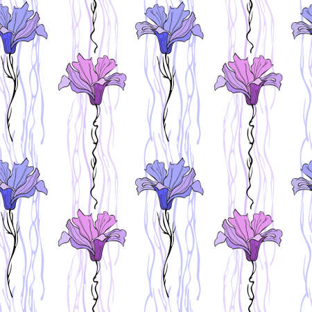 Pink and purple stylized magnolias, vector drawing. Endless drawing, seamless. For print.