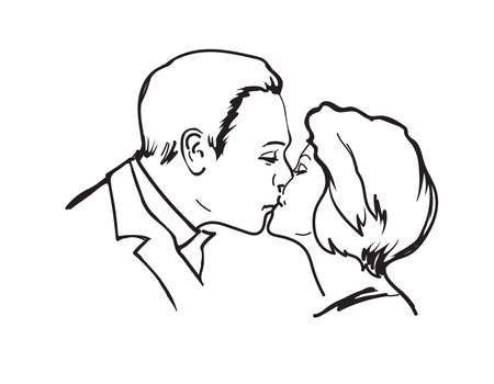 A loving couple, a kiss of a man and a woman. Love. Line drawing on a white background. Vector. Ilustração