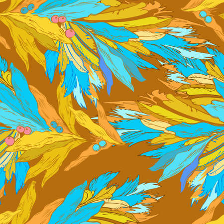 Floral ornament, blue and yellow colors. Endless pattern in oriental style.