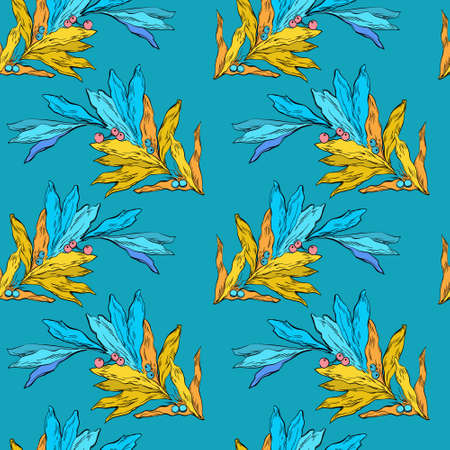 Floral ornament, blue and yellow colors. Endless pattern, retro style. For print on tewxtile.