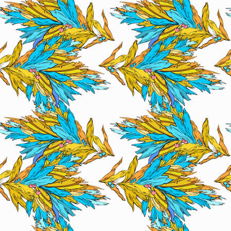 Floral ornament, blue and yellow colors. Endless pattern, retro style. Branches of plants on a white background. Ilustração