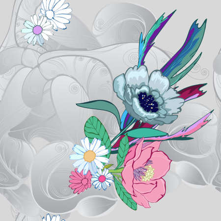 Stylized flowers on a gray pearl background, a pattern for summer. Printing on fabrics and paper.
