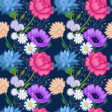 Bright floral ornament with summer flowers, pattern for fabrics and paper. The richness of summer vegetation in the pattern.