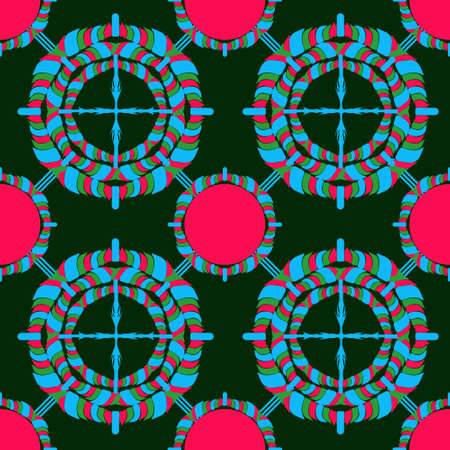 Bright geometric pattern on the ornament, oriental style. Green dark background, red and light green details. Ilustração