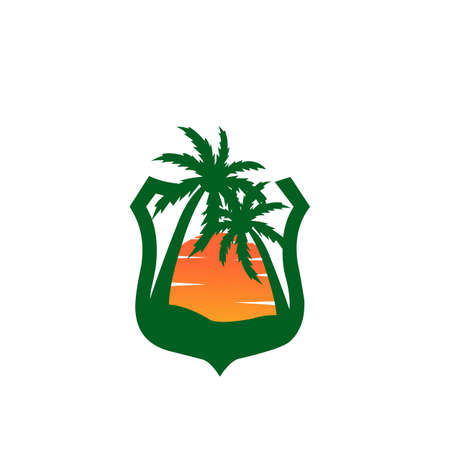 beautiful sunset in the bay between two palm coconut tree vector logo design, Sunset on a white background. sunset sun, icon  イラスト・ベクター素材