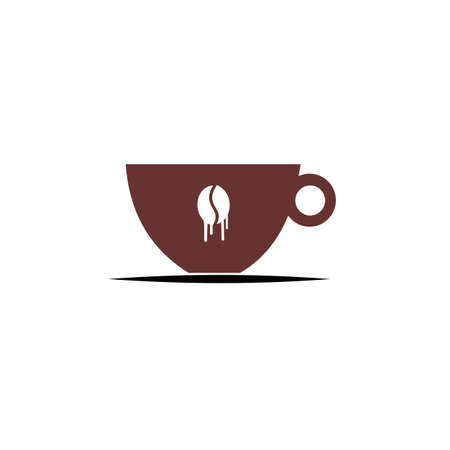 :abstract sign of cafe, vector template of cafeteria and bistro. Illustration design of monoline, minimalistic, simple logotype coffee. Vector icon cup with drink. Ilustração