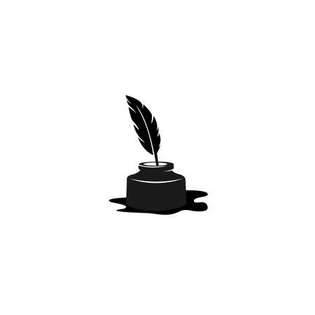 quill icon, Ink bottle and quill pen vector design