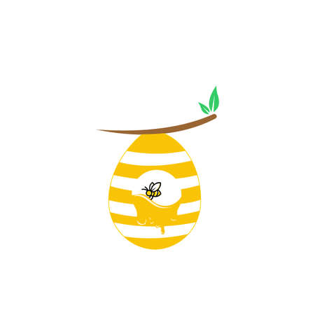Beehive With Bees Flying Around Cartoon Illustration, Concept for organic honey products, package design 向量圖像