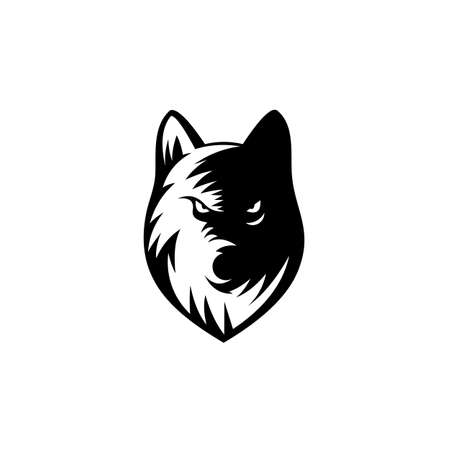 wolf head logo vector isolated on white,wolf head icon for mascot brand,Label for hunting, company or organization. Vector illustration