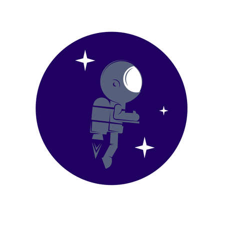 Little astronaut looks to universe at the planet surface, elements, icons, symbols, abstract,