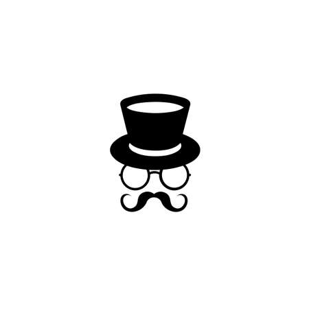 Illustration of hat, glasses and mustache silhouettes isolated on a white background, Vector art. Logo template of gentleman Club.