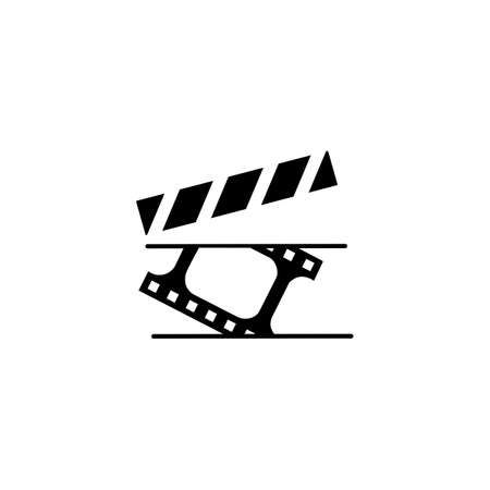 Clapperboard movie clapper vector flat icon, Direction and producing concept. Cinema clapper board vector sketch illustration for print, web, mobile and isolated on white background