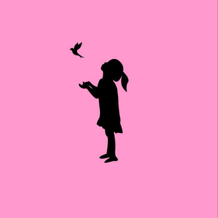 vector logo of a girl playing with a bird, isolated white background