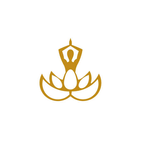 Vector illustration with female silhouette in meditating pose, Health Spa Meditation Harmony Logotype concept.