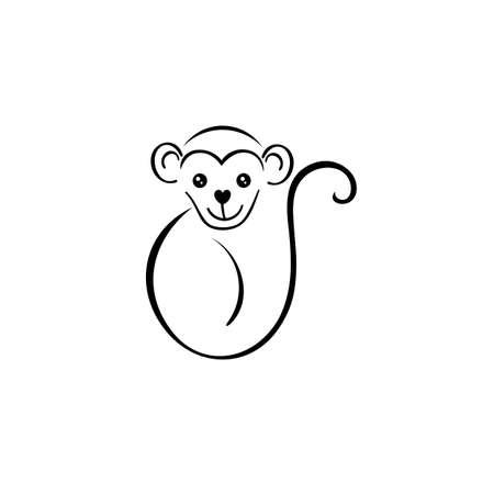 monkey vector icon, Emblem design on white background