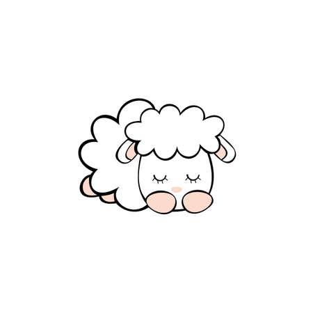Lazy goat sleeping icon, Emblem design on white background
