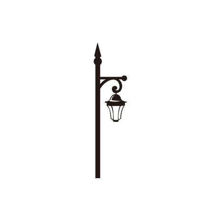 Vector illustration of street lantern in retro style, in black color, isolated, on white background. 向量圖像