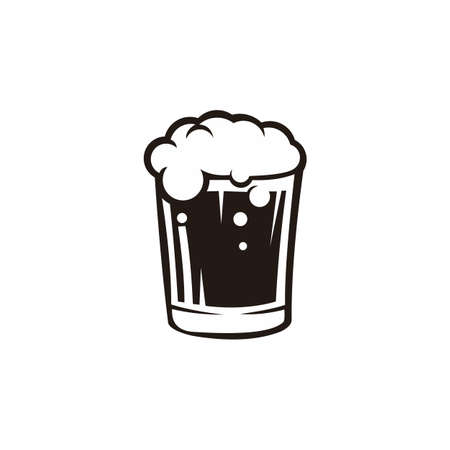 Glass of beer isolated vector illustration. Beverage icons for restaurant use