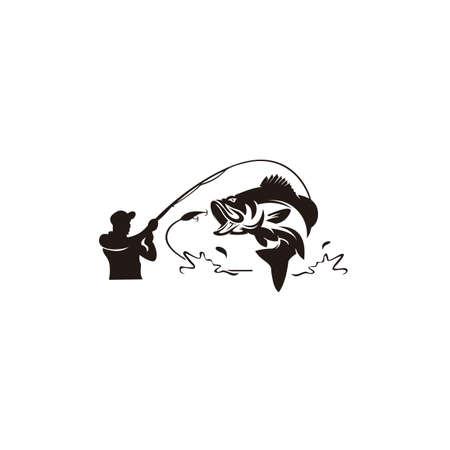 Fishing logo, Black and white illustration of a fish hunting for bait, Trout fishing - logo illustration. Fishing emblem